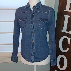 Miley Cyrus Max Denim collared shirt size S